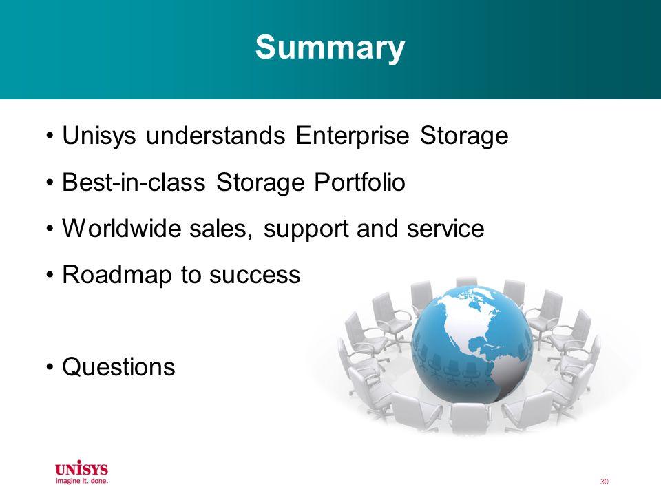 Summary Unisys understands Enterprise Storage