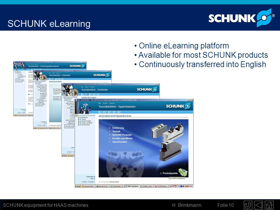 SCHUNK eLearning Online eLearning platform
