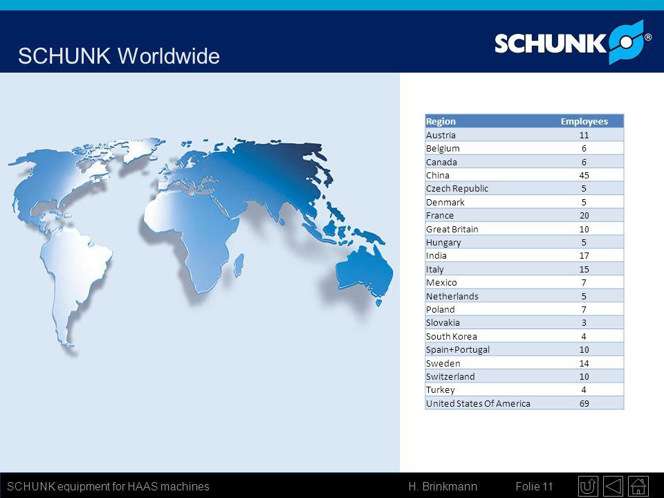 SCHUNK Worldwide SCHUNK equipment for HAAS machines Region Employees