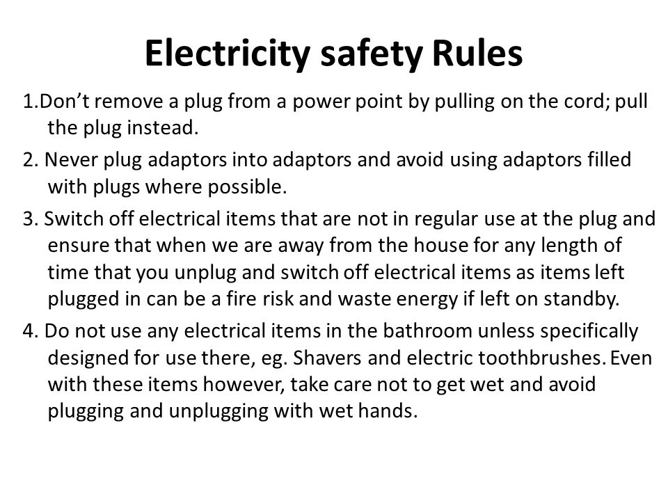 Electricity safety Rules