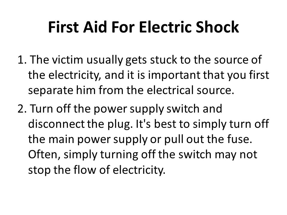 First Aid For Electric Shock