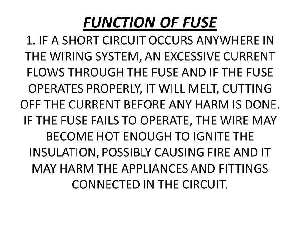 FUNCTION OF FUSE 1.