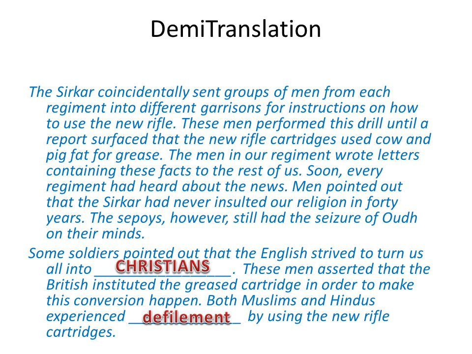 DemiTranslation CHRISTIANS defilement