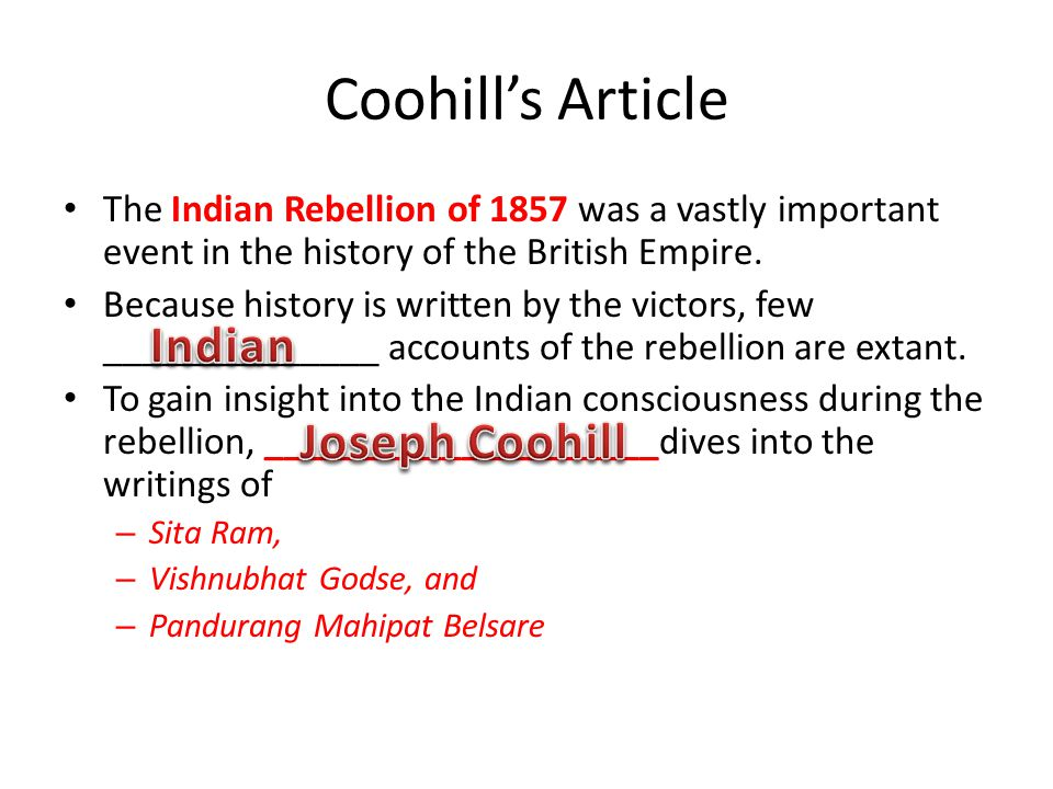 Coohill's Article Indian Joseph Coohill