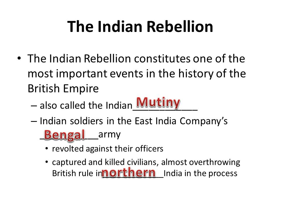 The Indian Rebellion Mutiny Bengal northern
