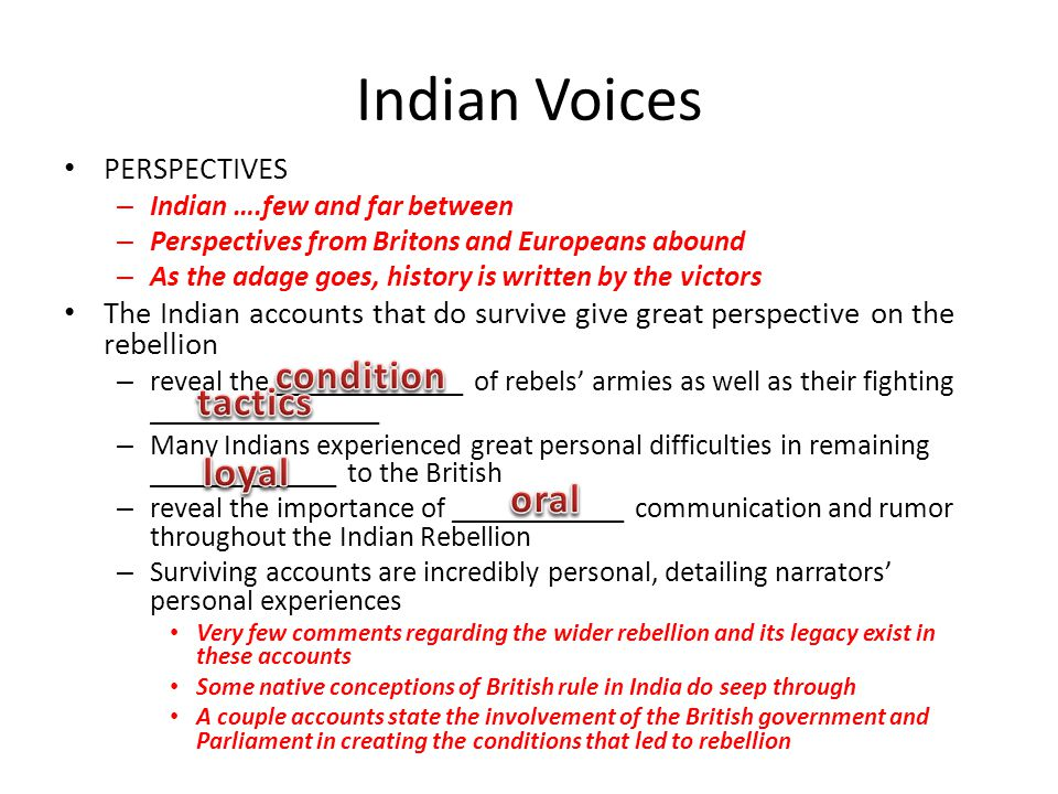 Indian Voices condition tactics loyal oral PERSPECTIVES