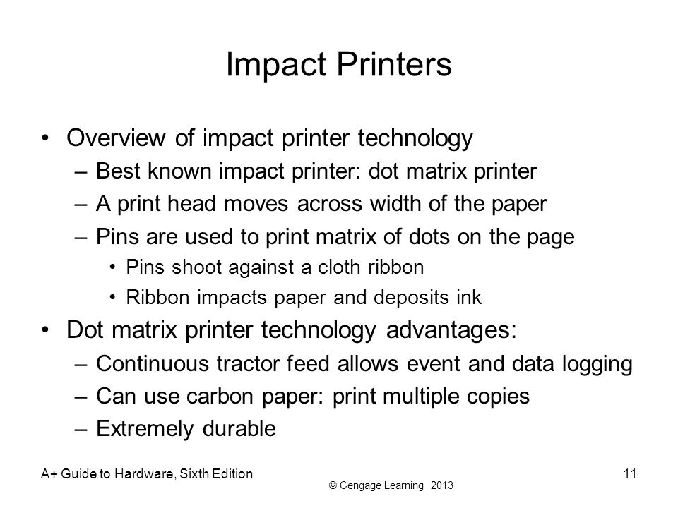 Impact Printers Overview of impact printer technology