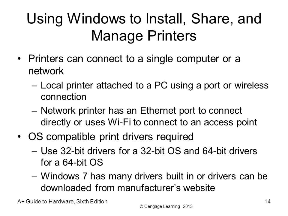Using Windows to Install, Share, and Manage Printers