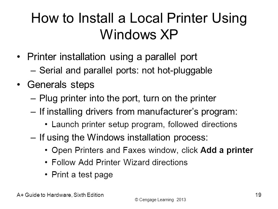 How to Install a Local Printer Using Windows XP