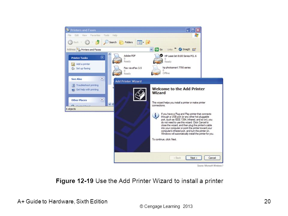 Figure 12-19 Use the Add Printer Wizard to install a printer