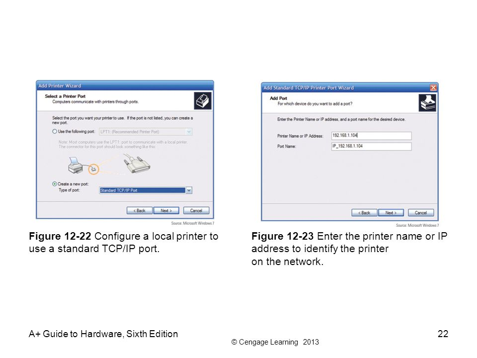 Figure 12-22 Configure a local printer to use a standard TCP/IP port.