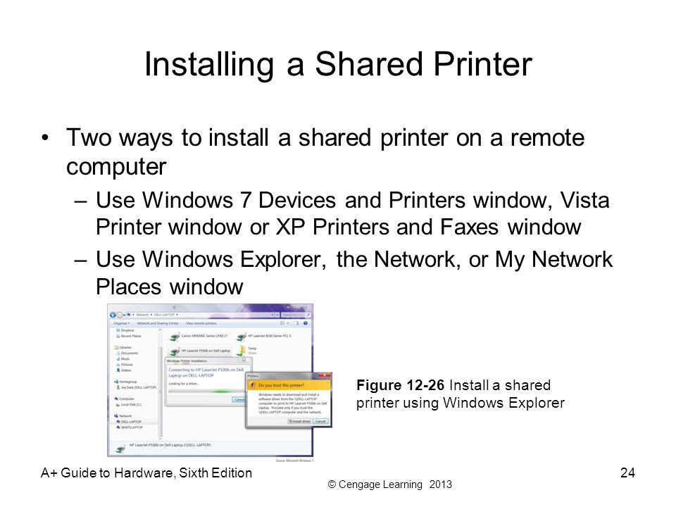 how to add a shared printer