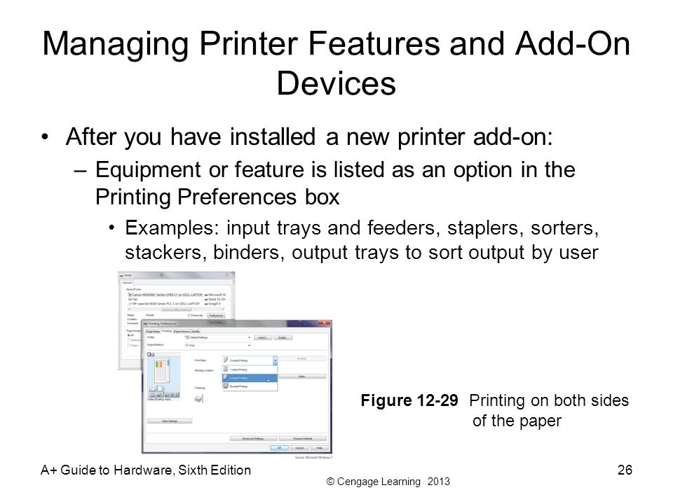 Managing Printer Features and Add-On Devices