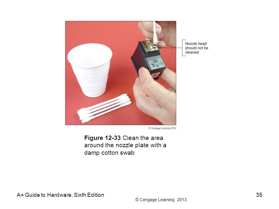 Figure 12-33 Clean the area around the nozzle plate with a damp cotton swab