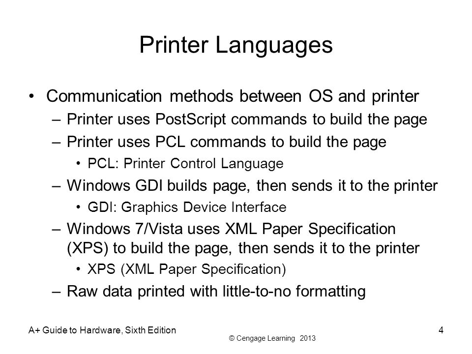 Printer Languages Communication methods between OS and printer