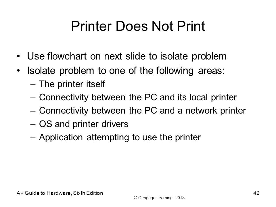Printer Does Not Print Use flowchart on next slide to isolate problem