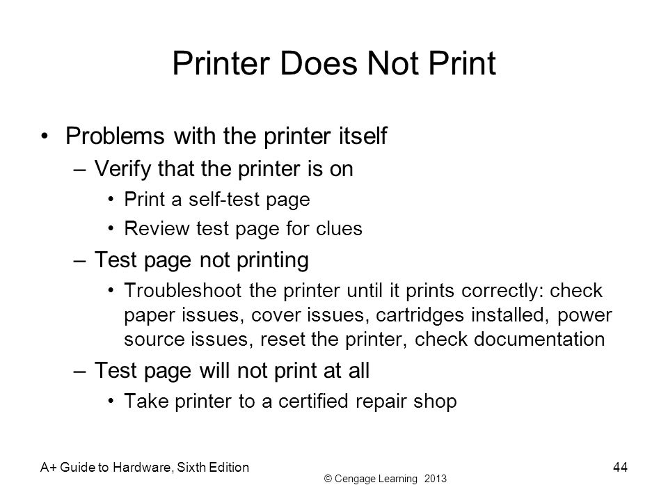 Printer Does Not Print Problems with the printer itself