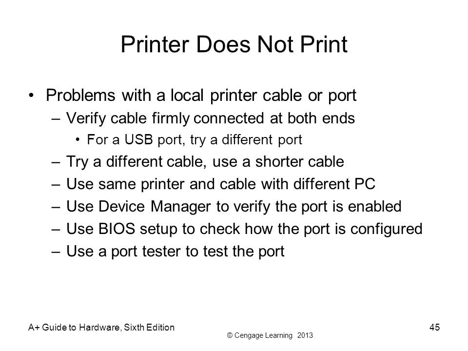 Printer Does Not Print Problems with a local printer cable or port