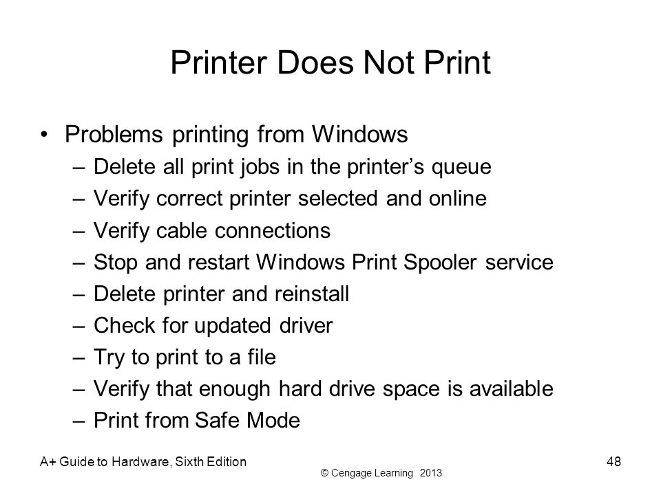Printer Does Not Print Problems printing from Windows