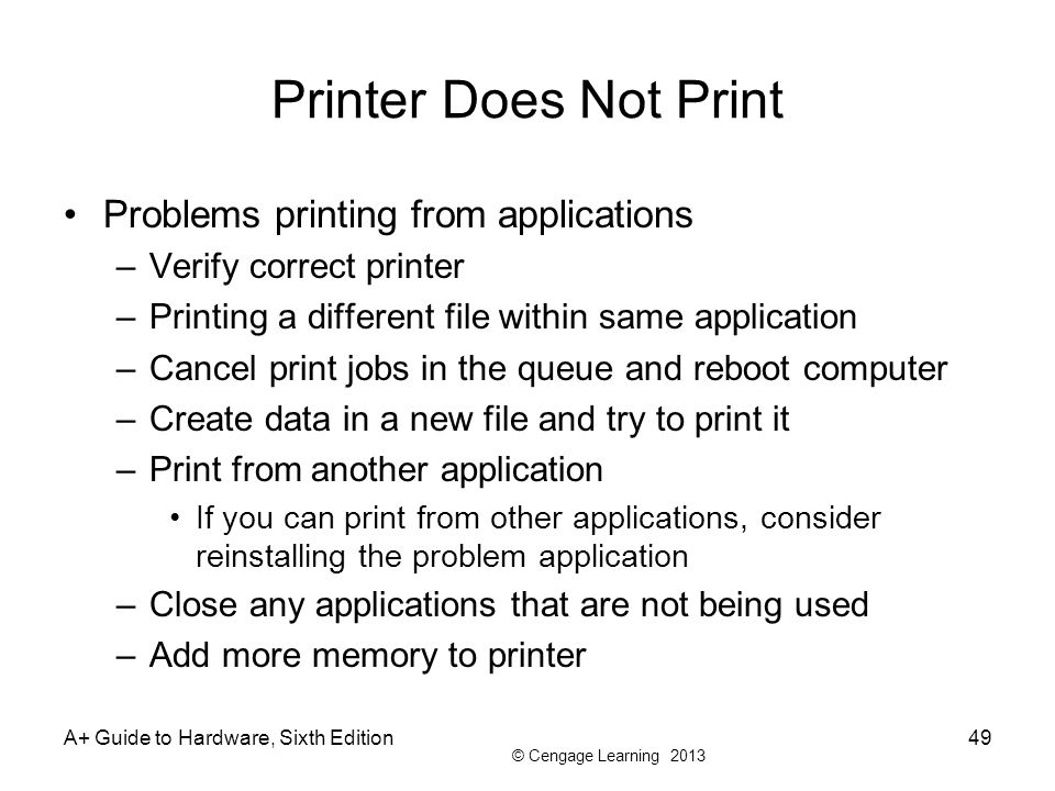 Printer Does Not Print Problems printing from applications