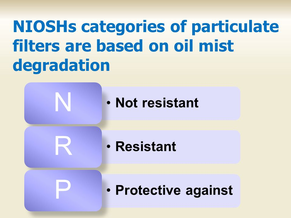NIOSHs categories of particulate filters are based on oil mist degradation