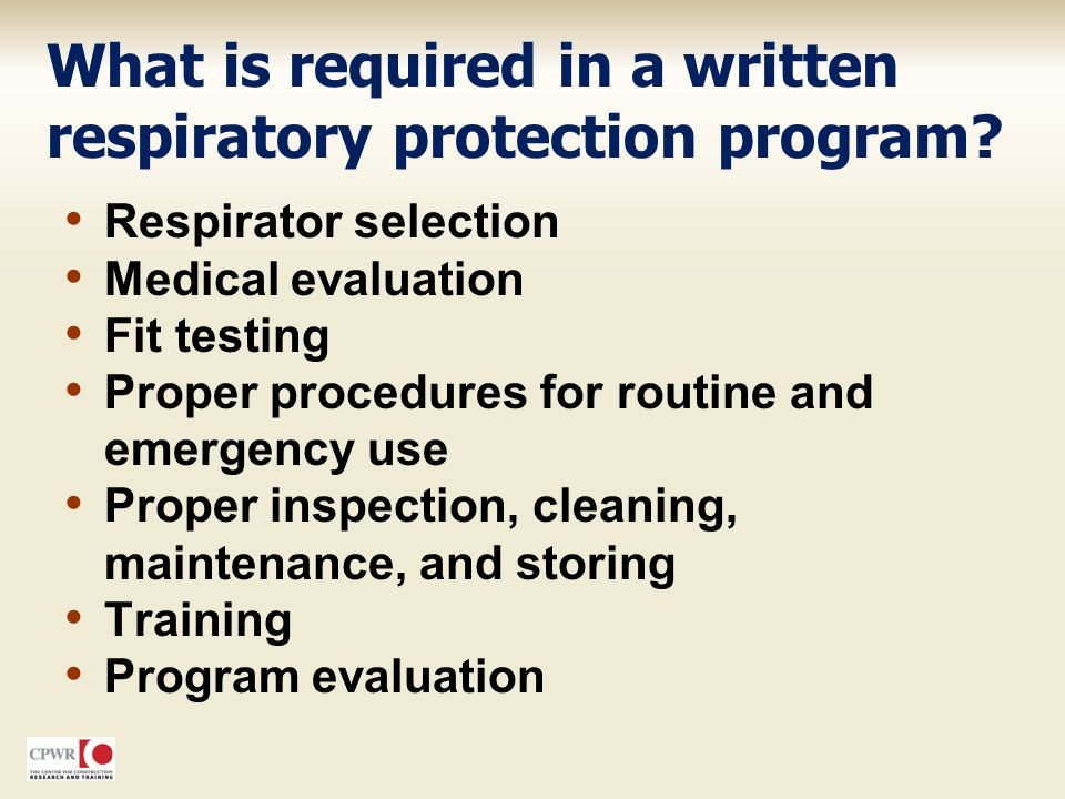What is required in a written respiratory protection program