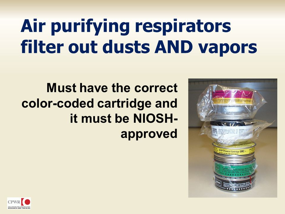 Air purifying respirators filter out dusts AND vapors
