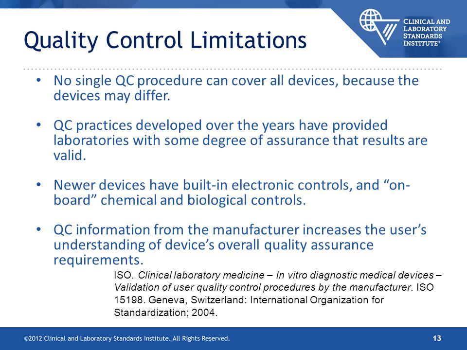 Quality Control Limitations