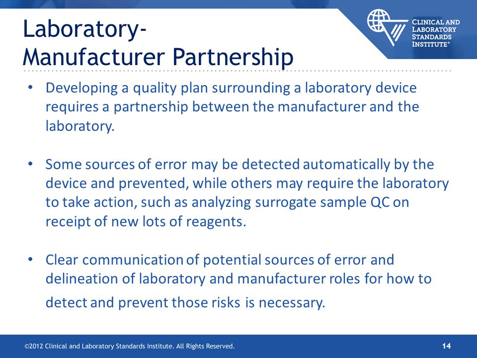 Laboratory- Manufacturer Partnership