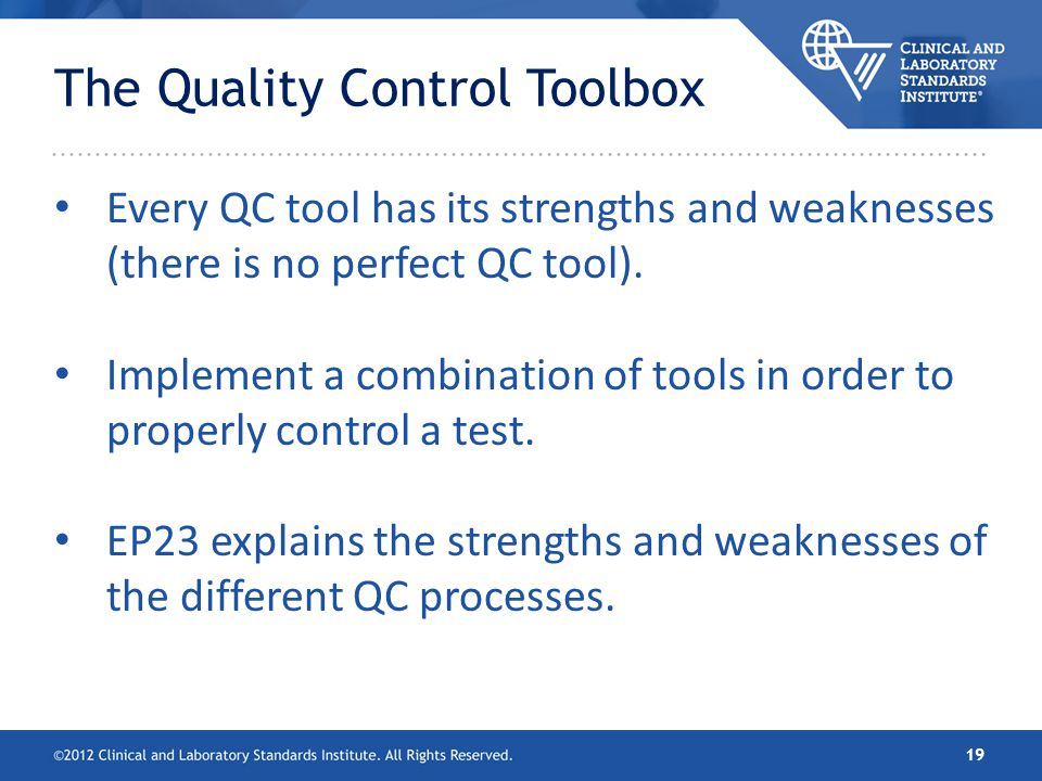 The Quality Control Toolbox