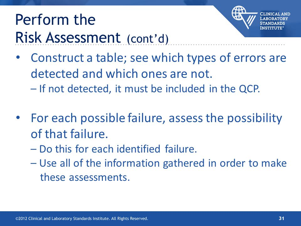 Perform the Risk Assessment (cont'd)