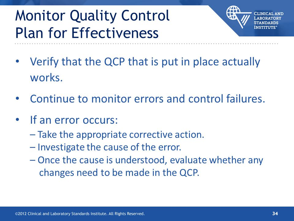 Monitor Quality Control Plan for Effectiveness