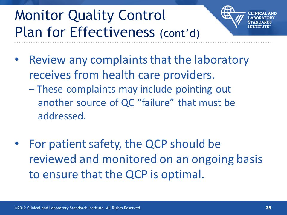 Monitor Quality Control Plan for Effectiveness (cont'd)