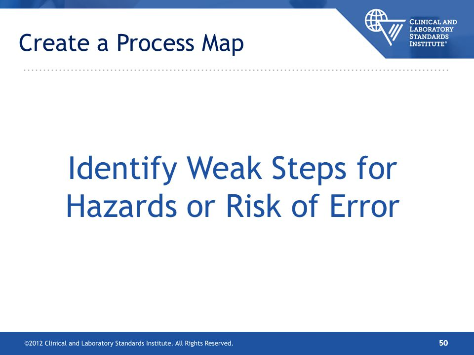 Identify Weak Steps for Hazards or Risk of Error
