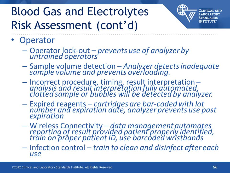 Blood Gas and Electrolytes Risk Assessment (cont'd)