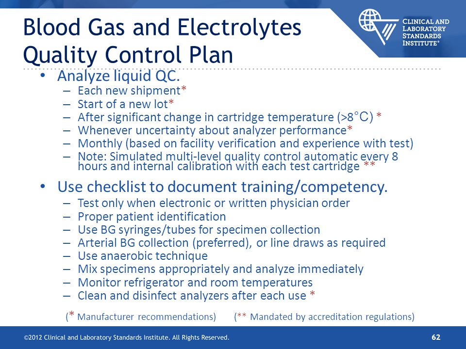 Blood Gas and Electrolytes Quality Control Plan