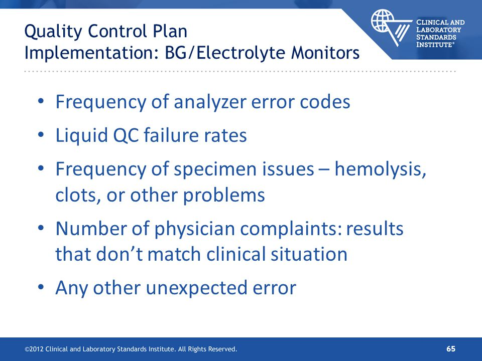 Quality Control Plan Implementation: BG/Electrolyte Monitors