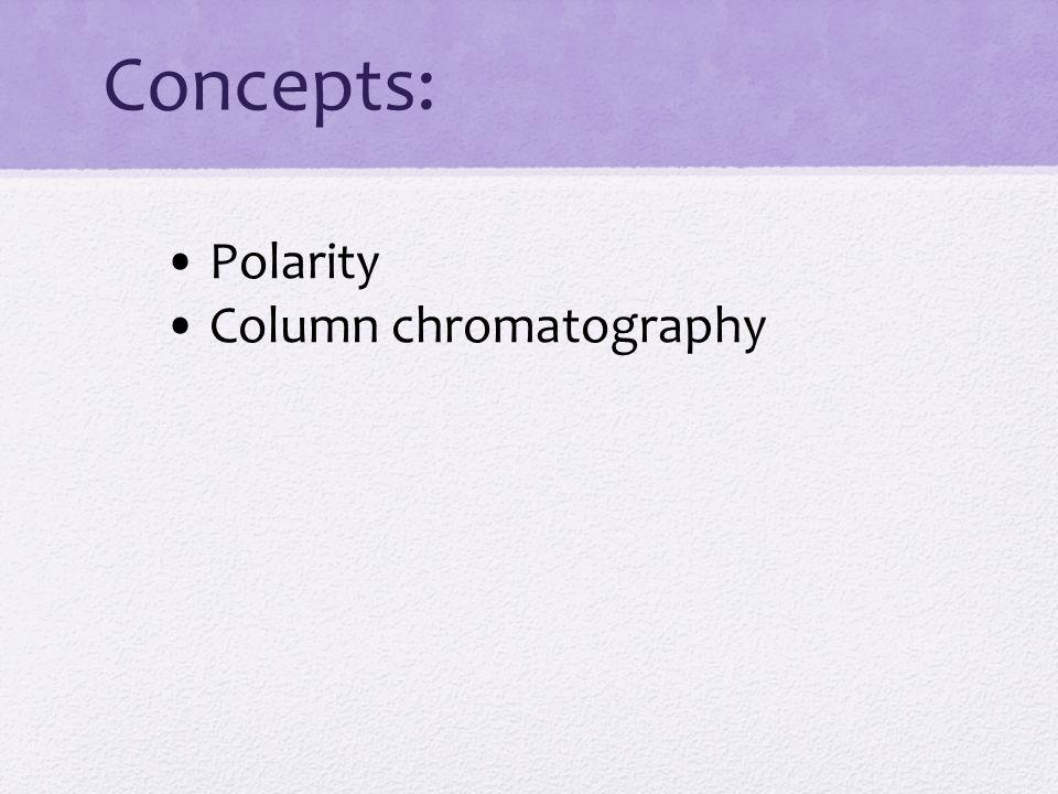 Concepts: • Polarity • Column chromatography