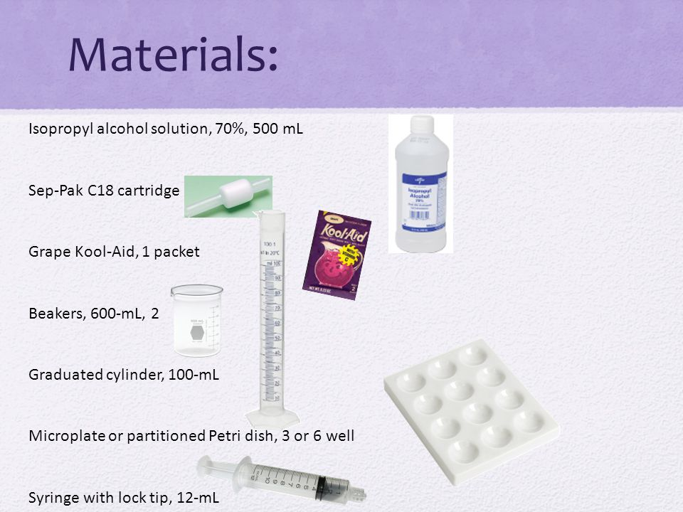 Materials: Isopropyl alcohol solution, 70%, 500 mL