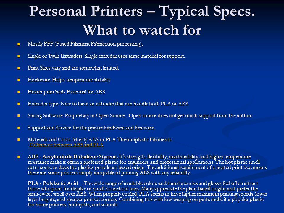 Personal Printers – Typical Specs. What to watch for