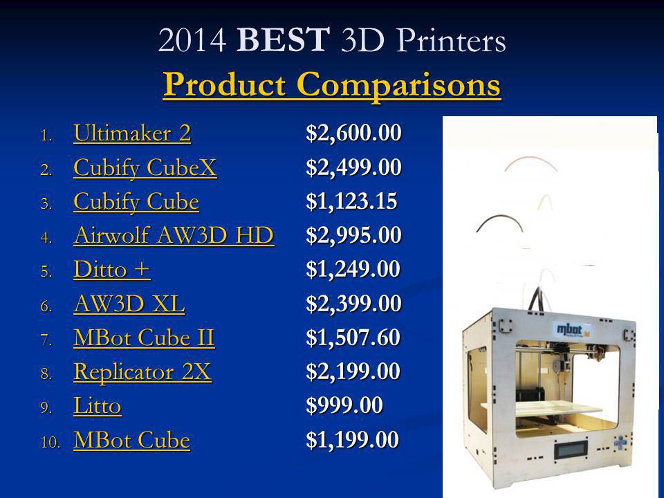 2014 BEST 3D Printers Product Comparisons