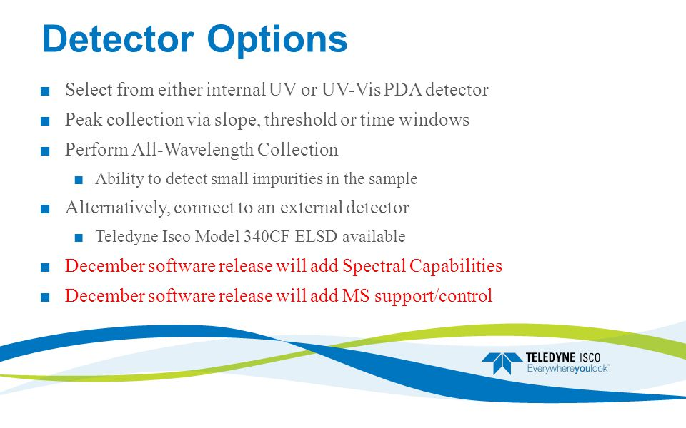 Detector Options Select from either internal UV or UV-Vis PDA detector
