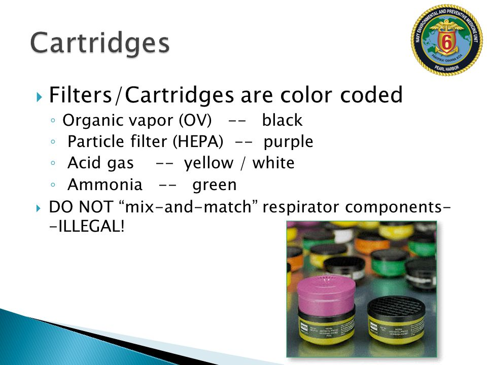 Cartridges Filters/Cartridges are color coded