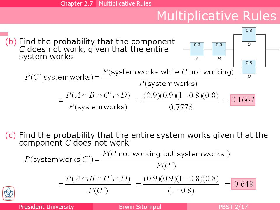 Chapter 2.7 Multiplicative Rules. Multiplicative Rules. Find the probability that the component C does not work, given that the entire system works.