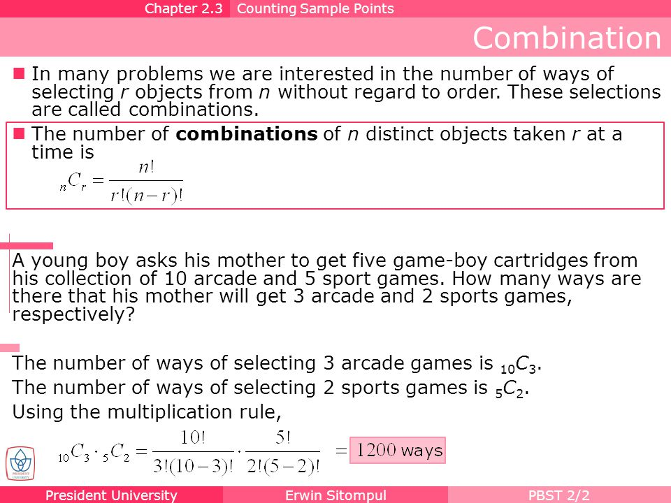 Chapter 2.3 Counting Sample Points. Combination.