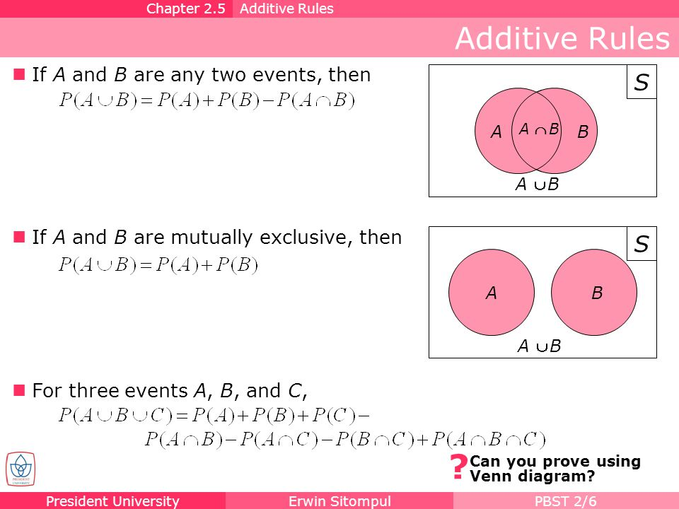 Additive Rules S S If A and B are any two events, then