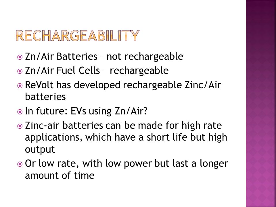 Rechargeability Zn/Air Batteries – not rechargeable