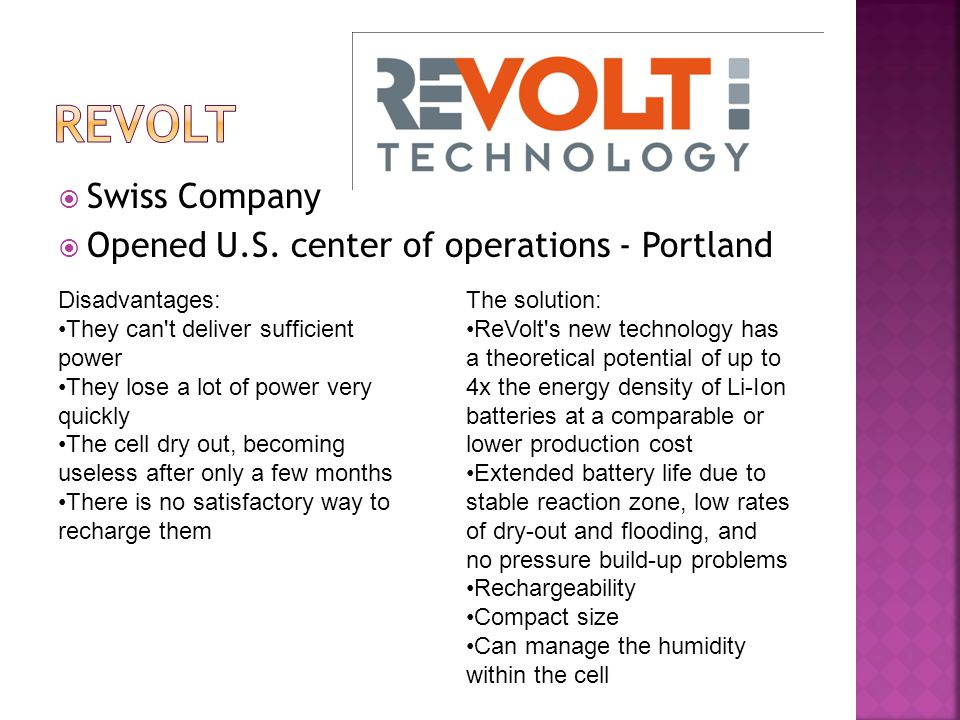 Revolt Swiss Company Opened U.S. center of operations - Portland