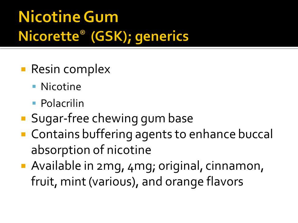 Nicotine Gum Nicorette® (GSK); generics