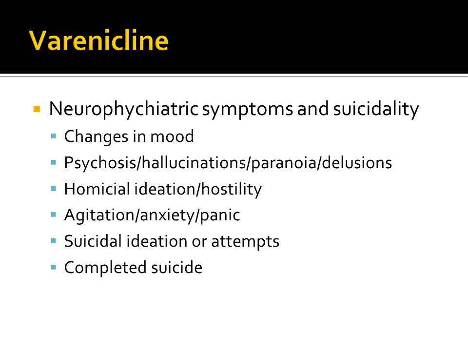 Varenicline Neurophychiatric symptoms and suicidality Changes in mood